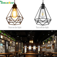 LemonBest Industrial Vintage Diamond Cage Pendant Light Sconce Hanging Droplight Lamp E27 Socket AC 85-240V (no bulb included)