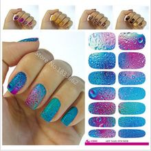 2017 New V640 Fashion Nail Art Stickers Mysterious Blue Ocean Drops Water Transfer Sticker 3d Manicure Minx Wraps Foil Decals