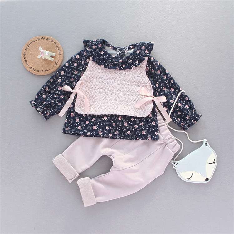 2017 Spring New Childrens Suit Casual Three-piece Flowers Printed Baby Childrens Clothing Bow Girl YD122<br><br>Aliexpress