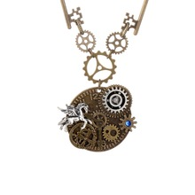 Original Design Key And Gears Round Alloy Pendant With Flying Horse Charm DIY Steampunk Necklace Fashion Jewelry