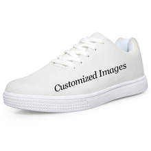 FORUDESIGNS Custom Images or Logo Men Casual Flats Shoes Spring Autumn Fashion Lace-up Leisure Shoes for Teen Boys Men's Flat
