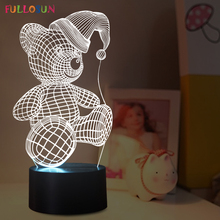 Lovely Bear 3D LED Lamp LED 7 Colors USB Desk Table Lamp LED 3D lights as Kids Room Decoration Toy Lighting