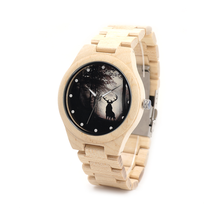 BOBO BIRD Forest-Deer Design Natural Pine Wood Watch &