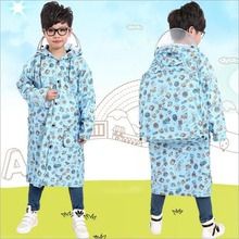 Children's Raincoat Cute Cartoon Impermeable Waterproof Poncho Outdoor Rain Coat For Children Boy Girl,with Brim & Schoolbag Bit(China)