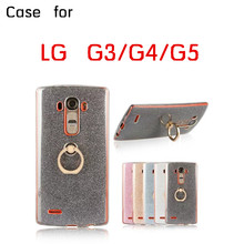 Good quality soft giltter shining mobile phone case for LG G3 G4 G5 Shockproof casing with Gold metal Ring holder in stock