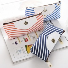 Creative Navy stripes pencil case for kids gift kawaii canvas pen bag korean Stationery pouch material office school supplies(China)