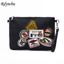 Rdywbu Women's Letters Badge Messenger Patch Bag PU Leather Envelope Clutches Crossbody Shoulder Bag Purse Bolsos Mujer B132