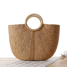New Grass Woven Round Sen Female Handbag Woven Straw Bag Leisure Beach Bag With Flower Tote Bag