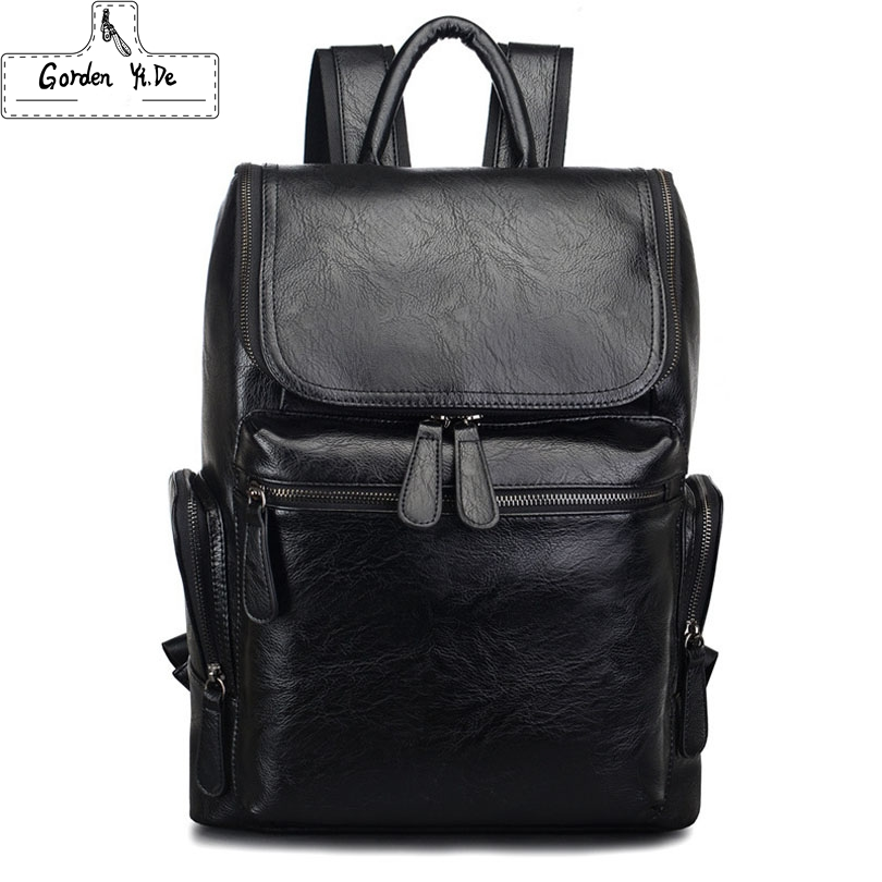 PU Leather Mens Backpack Youth School Bags for Teenagers Male Black Color Fashion Travel Backpacks Bag PT0342<br><br>Aliexpress