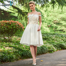 Dressv Off The Shoulder Ball Gown Long Wedding Dress Short Sleeves Appliques Bow Lovely Garden Church Princess Wedding Dresses(China)