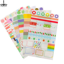 6 Sheet/lot Cartoon DIY Photo Sticker Calendar Paper Sticker Scrapbook Calendar Diary Planner Decorative Pad