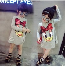 AIKELINYU Children Cotton Dress Girl Fashion Cartoon Donald Duck Dresses Long Sleeves Baby Girl Dress Kids Casual Autumn Clothes(China)