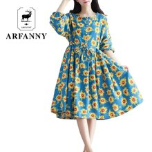 autumn dress /dresses  blue sky and the sunflower / Cotton (real) loose and long sleeve dress 2016 Daisy Women