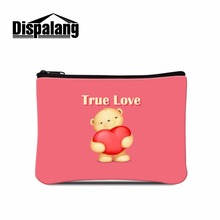 Dispalang Design Valentines Ture Love Prints Women Mini Wallet Coin Bags Purse Key Card Phone Storage Bag Makeup Organizer Bags(China)