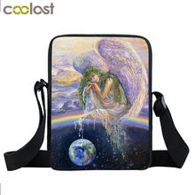 Black Cool Painting Girl Bag Kids Mini Messenger Bag Child Shoulder Bags For Boys Girls Briefcases For Teens Little Hand Bag(China)