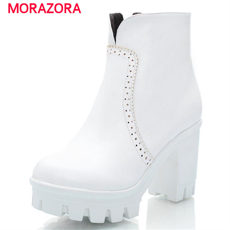Square heel women shoes platform boots winter large size 34-43 fashion contracted prom party ankle boots solid zip<br><br>Aliexpress