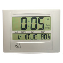 Calendar Alarm Clock With Digital LCD Thermometer Electronic Temperature Meter Walll Hanging Desk Clock 25x19cm