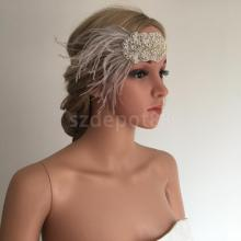 Vintage Grey Feather Headband Wedding Headpiece Gatsby Flapper Fancy Dress