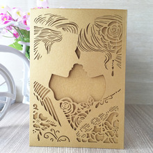 Factory direct wholesaler romantic high quality pocket bride and groom invitation card for marriage wedding party &guest gift