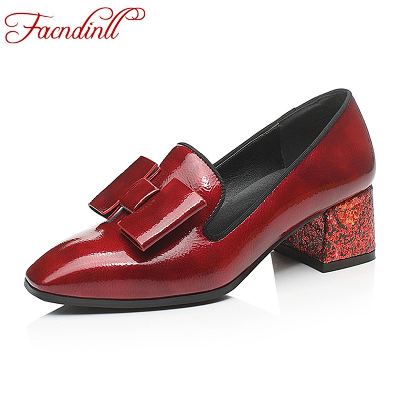 FACNDINLL women shoes 2018 new spring summer black red women pumps high heels square toe shoes woman dress party wedding pumps<br>