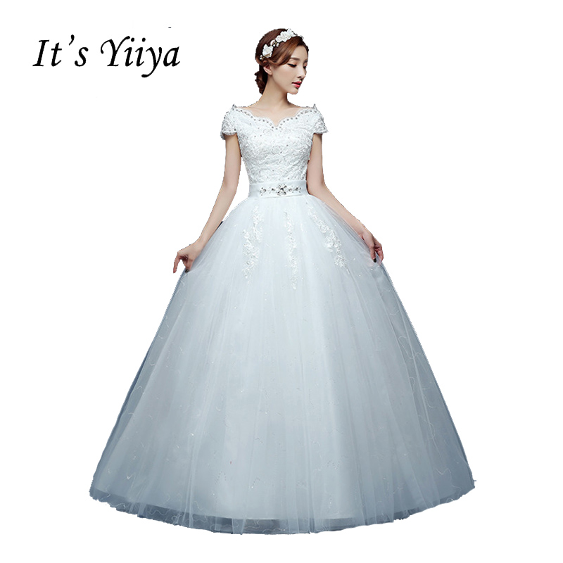 It's Yiiya V-neck Short Sleeves Lace White Floor Length Wedding Dresses Plus size A-line Cheap Sequins Simple Bride Dress HS220