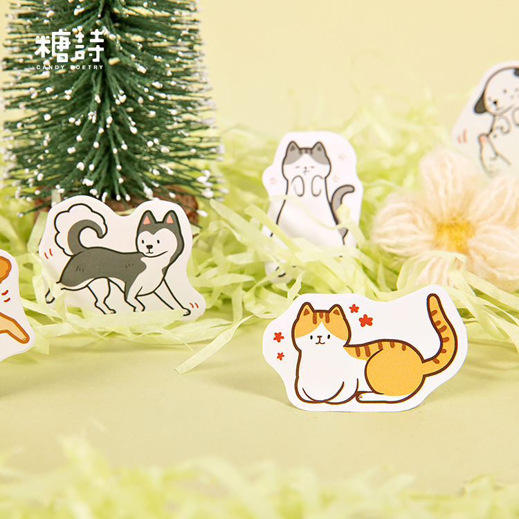 45 pcs/pack Cute Dog Cat Animal Sticker Decoration Diy Scrapbooking Sticker Stationery Kawaii Diary Label Sticker