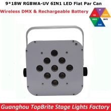 Cheap Price 1Pcs LED Par Can 9X18W RGBWA-UV Wireless DMX & Battery Led Flat Par Light For Stage Party Wedding Events Lighting