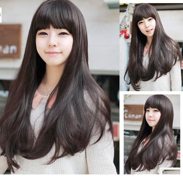 Fashion Womens Lolita Long curly Full Bangs Hair Wig Cosplay Wigs Ladies Light Brown Dark Brown Long Black Wig<br><br>Aliexpress