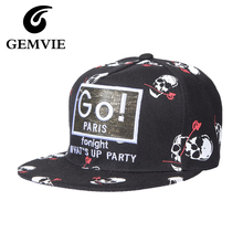 Cotton Brand Hats Punk Skull Head Letters Baseball Hats For Women And Men 2016 Four Seasons Casual Black/White Caps Adjustable