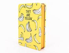 Funny Yellow Fruit Fashion Tinplate Hardcover Diary Book 9.4*14.4cm Blank+Squared+Lined Page 112 Sheets School Office Notebook