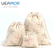VEAMOR Candy Gift Bags Tree Branches pattern Green Linen Drawstring Gift Bags Storage Bags 3pcs/lot WB1040(China)