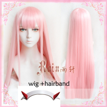 Cosplay Anime Horn Zero DARLING Pink 02 Synthetic Two-100cm Wig-Cap Hairband Top-Quality