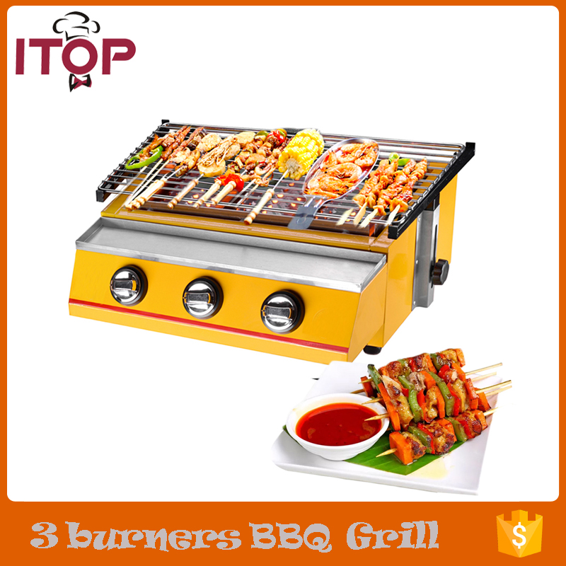 Gas BBQ Grill 3 Burners Barbecue Stove Adjustable Height Smokeless Outdoor Garden Picnic(China)