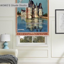 MOMO Painting Blackout Window Curtains Roller Shades Blinds Thermal Insulated Fabric Custom Size,PRB set688-692