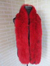 2016 Braid Real fox fur red with black tips scarf / cape  collar    SHIPPING FREE