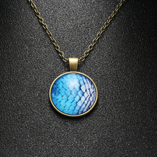 1 Pc 2017 Newest Steampunk Mermaid Fish Dragon Scale Photo Cabochon Glass Bronze Pendant Necklace Special Nice Gift(China)
