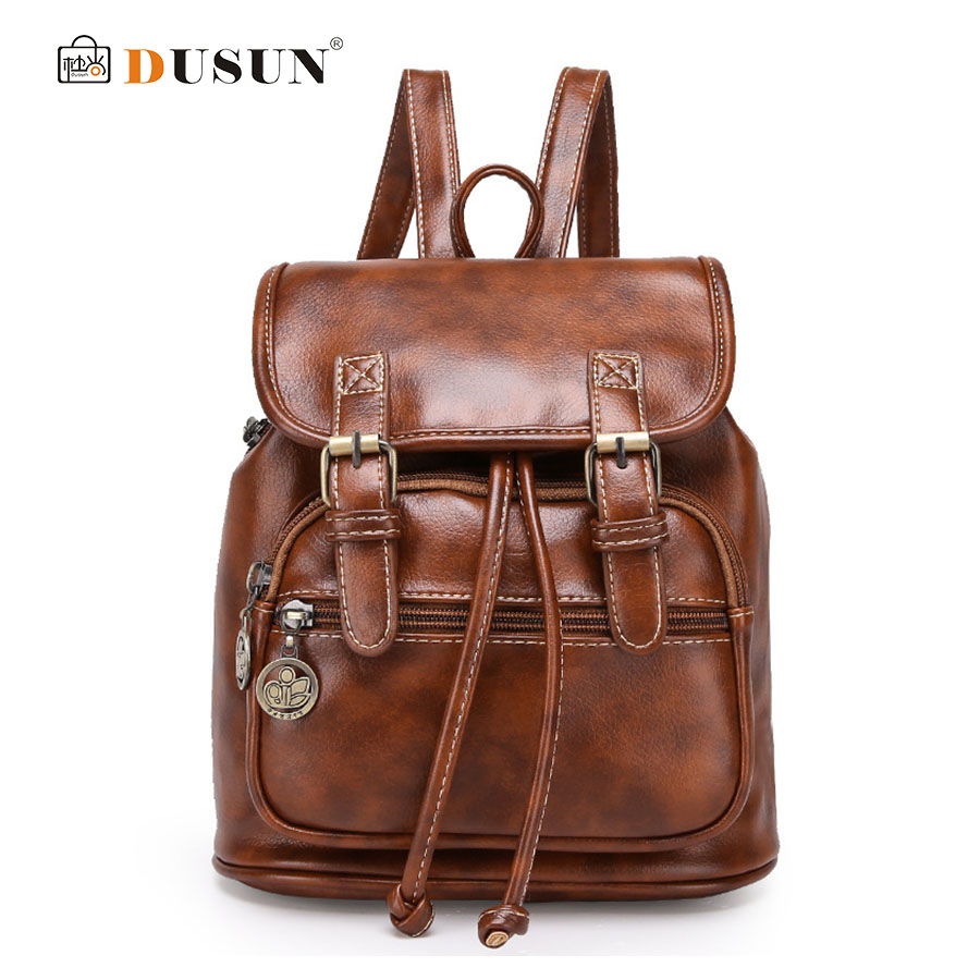 DUSUN 2017 New Backpack Women Bag Vintage College Wind Backpack Women High Quality Fashion PU Leather Backpack School Bags<br><br>Aliexpress