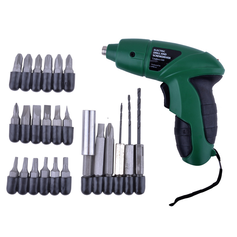 4.8V Cordless Electric Rechargeable Screwdriver 180RPM +20pcs Screwdriver Bits+3pcs Drill for Home Use DIY Tools<br><br>Aliexpress