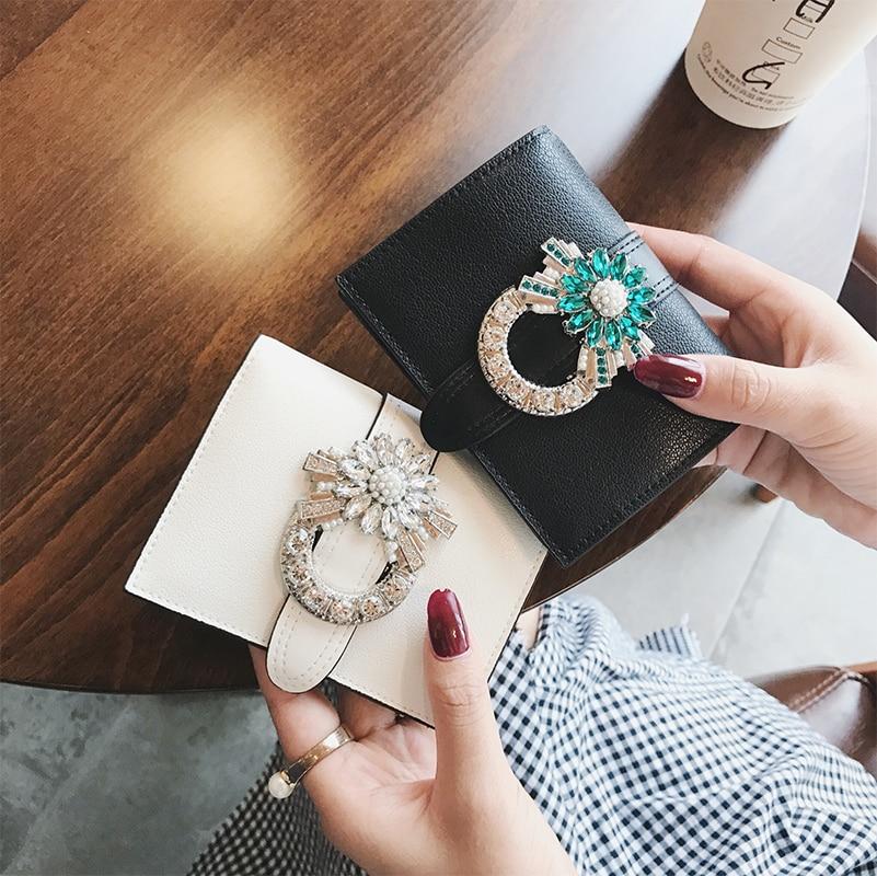 2018 Fashion Women Genuine Leather Bag Cowhide Jewellery Rhinestone Decorat Wallet Card Money Holder Clutch Purse Short Wallets<br>