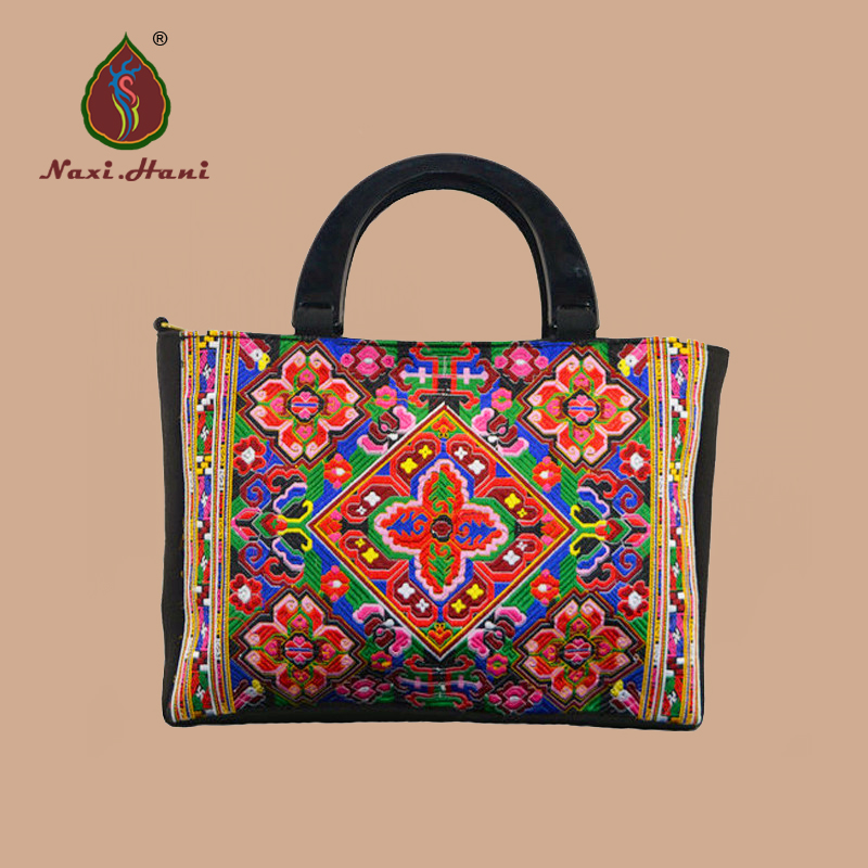 Naxi.Hani Original Exquisite embroidery geometrical design  Vintage  black canvas women laptop crossbody bags<br>