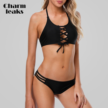 Buy Charmleaks Women Bikini Set Halter Swimwear Cutout Swimsuit Cross Bandage Tied Bathing Suit Beachwear Push Sexy Bikini