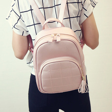 Women Casual Fashion Beautiful Backpack Small Leather Ladies Travel Bag Sweet Pretty Schoolbag Tassel Fresh Shoulders Package(China)