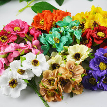6pcs Silk Flowers Artificial Flowers Simulation High Quality Chrysanthemum Daisy 6pcs/lot Tissue Hand Made Wedding Decoration(China)