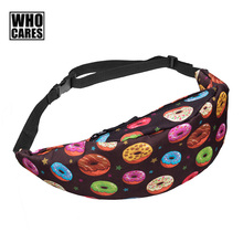 New Waist Packs Cute Donuts Pizza print Women Men Fashion Fanny Packs Casual Unisex Travel Waist Bags Girls multifunctional Bag(China)