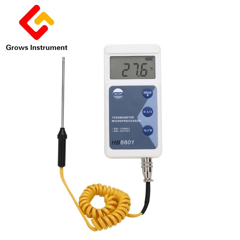 High Precision Temperature Measuring Instrument LCD Screen Digital Thermometer Portable Universal Temperature Measure Sensor6801<br>