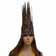 Indian Inspired Tribal Chiefs Feather Crown Headdress Hair Accessories For Adults Kids Party Halloween Carnival Tiaras Headpiece(China)
