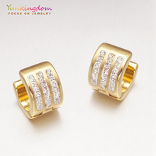 Yunkingdom gold-color small hoop earrings for women ladies fashion jewelry stainless steel UE0075