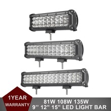 "Triple Row Straight LED Work Light Bar 9"" 12"" 15"" Car Tractor Boat Offroad 4WD 4x4 Truck Trailer Van Camper Wagon ATV Headlights"
