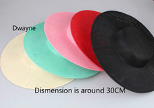 Round 30cm Sinamay Hat Base DIY Women Hat Accessories Solid Linen Flat Millinery Church Party Hats DIY Ladies Wedding Headwear