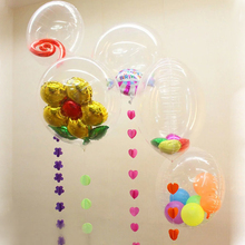 5pcs/lot Nylon membrane helium balloon Circular transparent wave ball floating bubble ball Wedding supplies Party decoration(China)